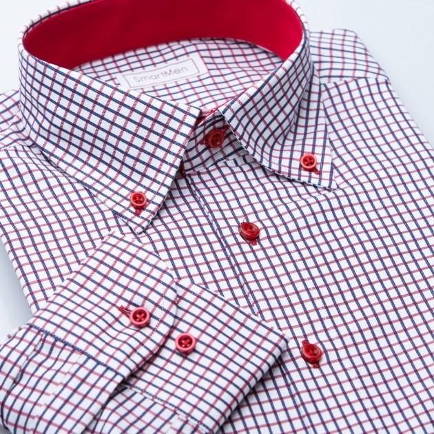 b98c3ef689a Červená a vínová košile pro muže