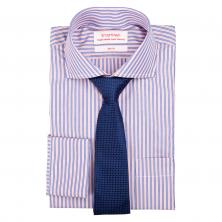 Kombinace pánská košile SmartMen modrý a růžový proužek a modrá kravata ... 0f972ebe9d