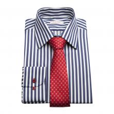 ... Pánská košile SmartMen Navy modrý proužek a červená kravata ... 85b7a9c608