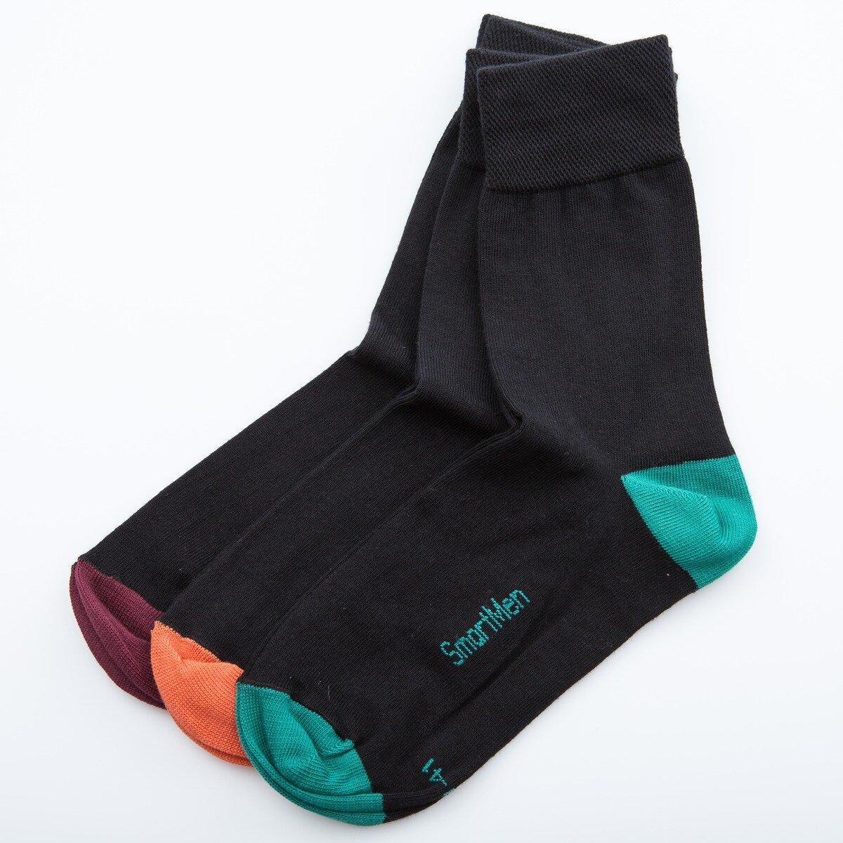 Ponožky pánské černé s barevnou špičkou a patou 1 pár. Velikost 39-41.  Neprodejný dárek k nákupu. 1d9b54e4e0