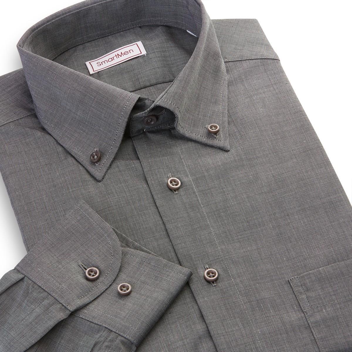 65644767cf3 Pánská košile tmavě šedý melír dlouhý rukáv Button-down