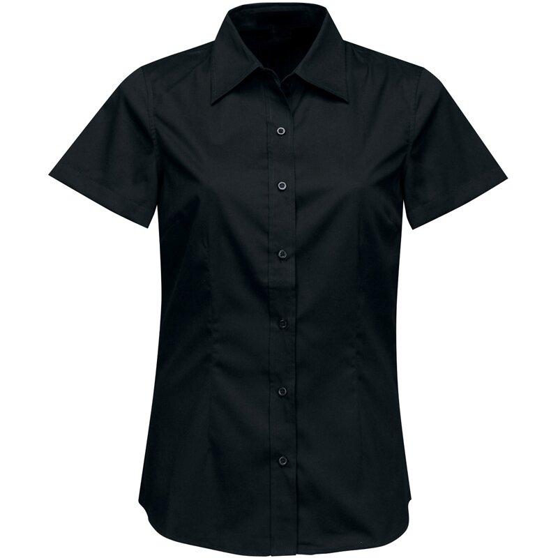 Firemní halenka dámská černá krátký rukáv 100 % bavlna s úpravou pro snadné  žehlení b437729476