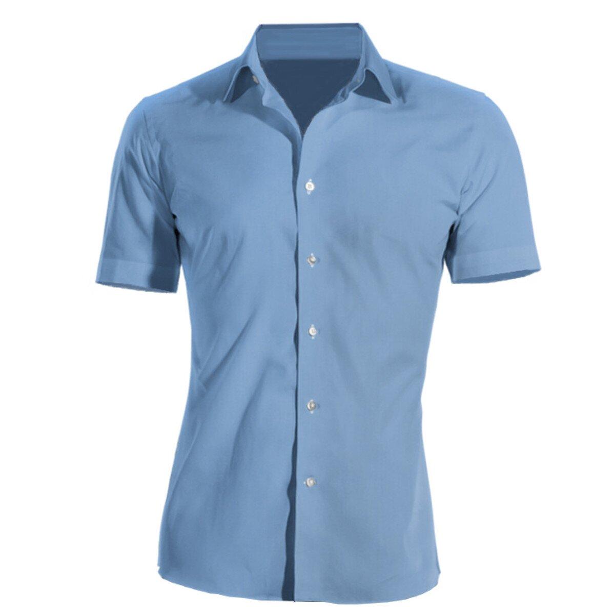 Firemní košile pánská modrá krátký rukáv 100 % bavlna s úpravou pro snadné  žehlení e062bb565e