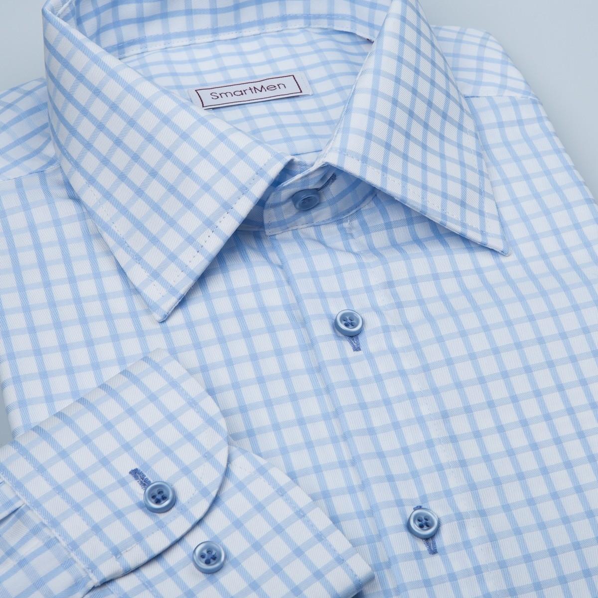 Business Casual pánská košile károvaná modrá  a7d05d2f25