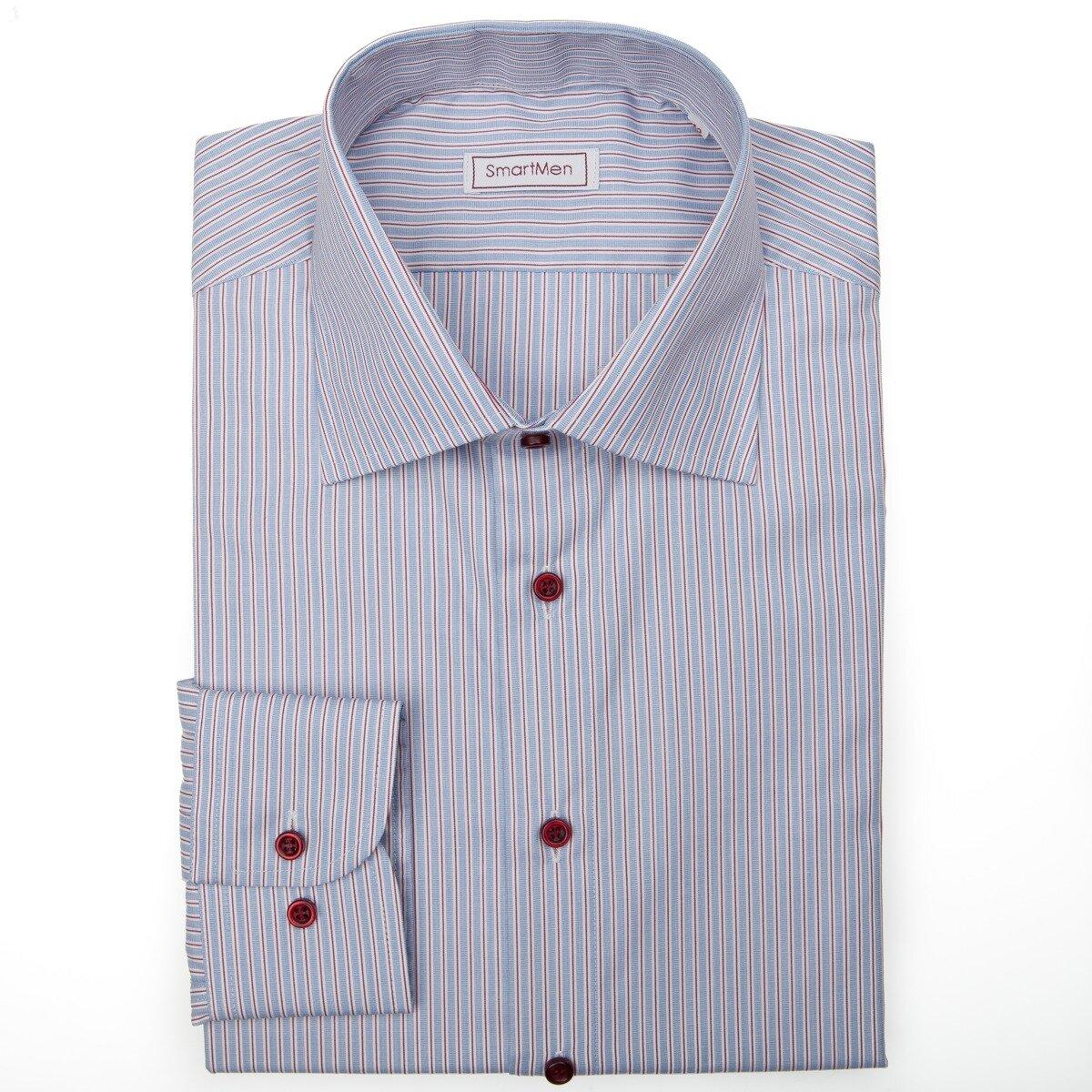 Modrá košile Business Casual zvýrazněná červenou linkou f1568f7465