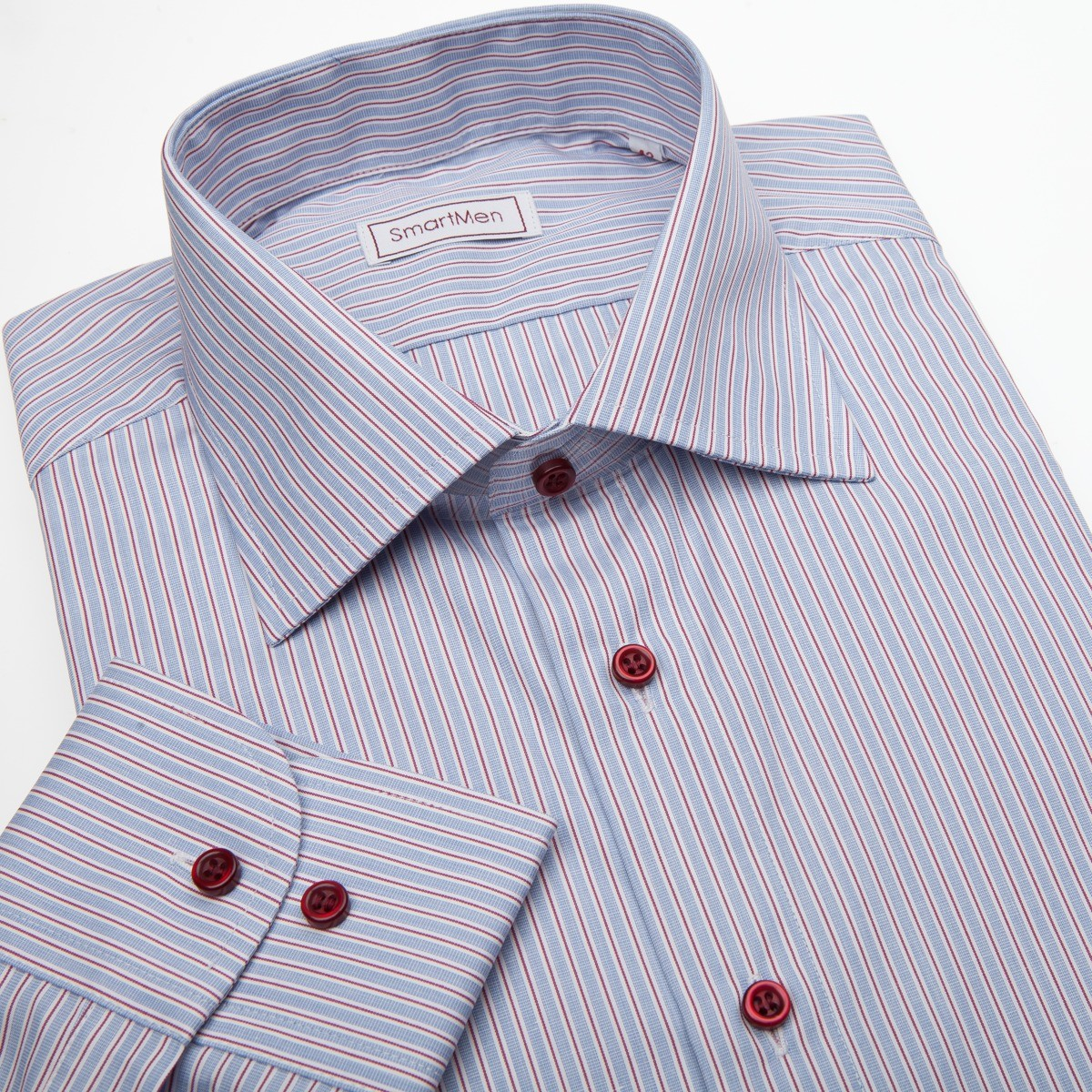 Pánská košile modrá s červenou linkou a červenými knoflíčky 6f7eec85e2
