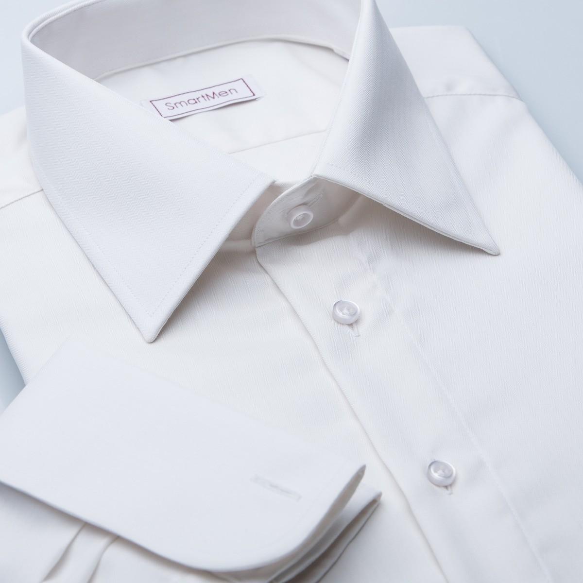 Svatební smetanová košile na manžetové knoflíčky b6e7786283