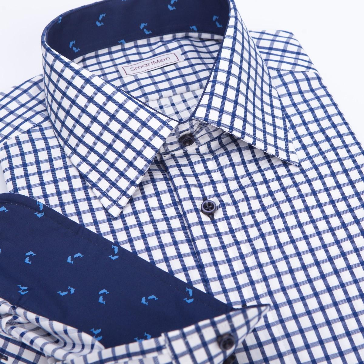 Casual pánská košile modrá károvaná s delfíny a8b19e3f15