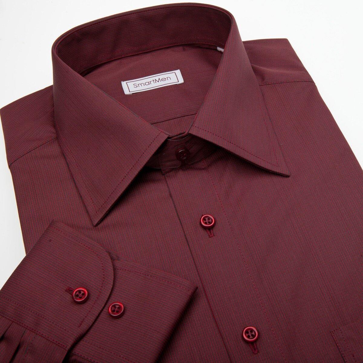 ca995ec37b1 Vínově červená košile s dlouhým rukávem s knoflíčky v barvě