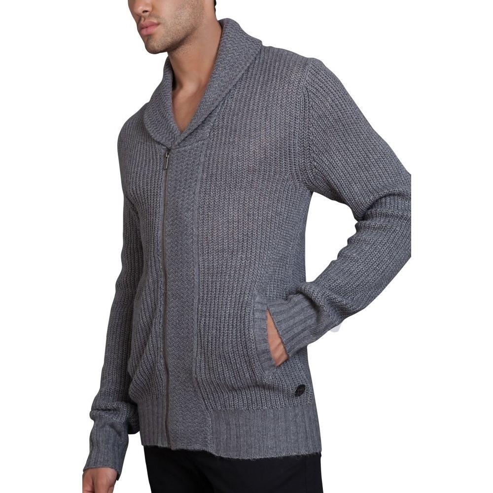 Pánský svetr na zip s límcem do V šedý melír 738bdbe2b4