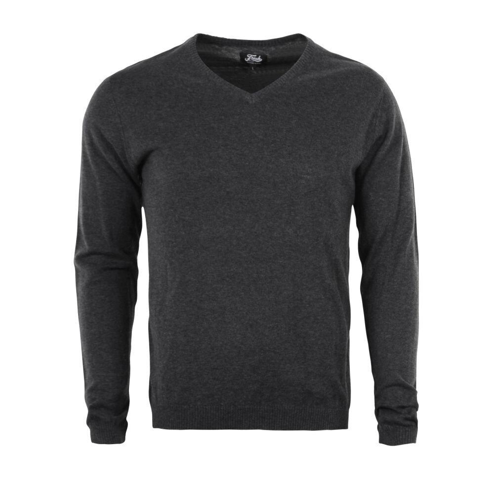 4afe0f11918 Pánský pulovr do V antracit bavlna s kašmírem
