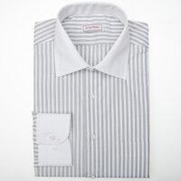 d4187b1c338 Společenská pánská košile s šedým proužkem a bílým límečkem a manžetou s  dlouhým rukávem