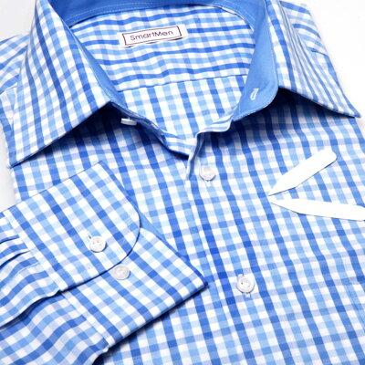 f5dd93beddf Pánská košile modrá kostka - Casual