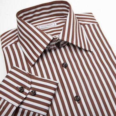 75043542f98 Pánská košile Slim v proužku s hnědými knoflíčky