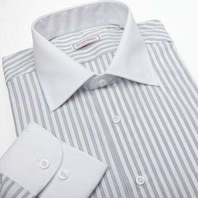 Pánská košile šedý proužek - bílý límeček  7ad38f74e7