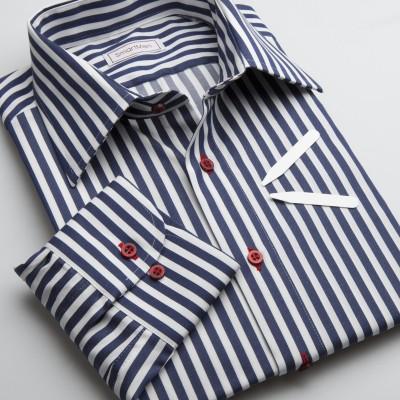 25c6435a530 Pánská Non Iron košile proužek NAVY BLUE