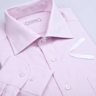 Pánská košile růžový proužek - Business a1b3b4fccd