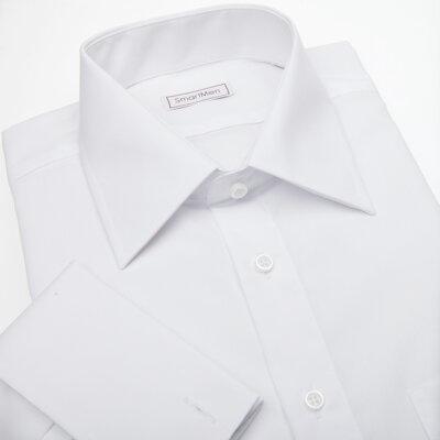 ac2f6c20a3e Společenská bílá košile na manžetové knoflíčky Non Iron - nežehlivá