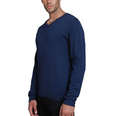 ce31fd6ed9a Modrý pulovr pánský s límečkem do V bavlna a kašmír