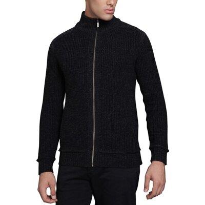 Pánský svetr na zip černý - Sleva Kč 400  d28d47a30e