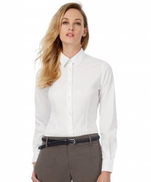 Popelínová elastická košilová halenka dlouhý rukáv 55120c8751e