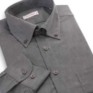 Pánská košile tmavě šedý melír dlouhý rukáv Button-down 434d1ec817