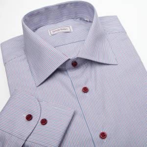 469fd82966a Pánská košile modrá s červenou linkou a červenými knoflíčky