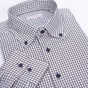 SmartMen Casual košile károvaná Button-down modro hnědá Regular Fit