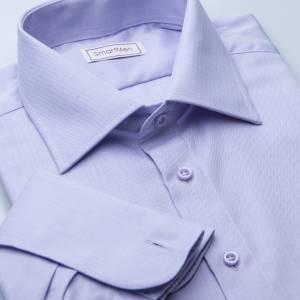10b3f11549cb Pánská luxusní košile fialová Herringbone na manžetové knoflíčky