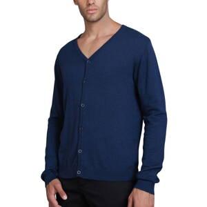 c93bb32cf89 Modrý Cardigan pro muže bavlna a kašmír